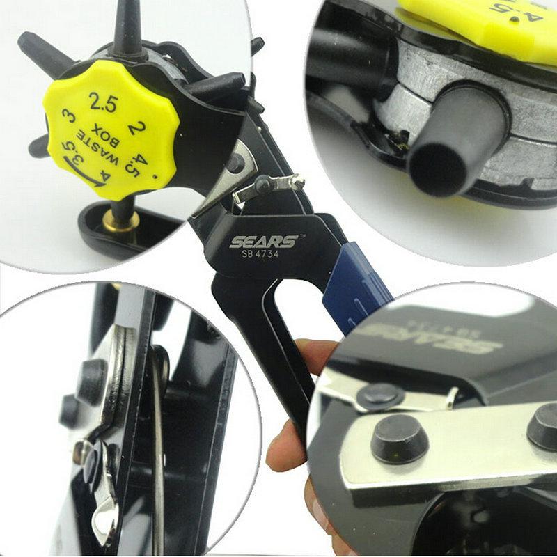 ФОТО 1PC SEARS Labor Saving Luxury Revolving Belt Leather Hole Punching Pliers Fastener Press Hole Maker Free Gift File