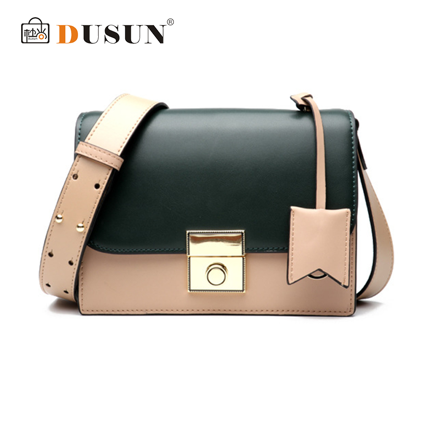 DUSUN Luxury High Quality Small Ladies Messenger Bags Leather Shoulder Bags Women Crossbody Bag For Girl Women Handbags Flap Sac 2017 summer metal ring women s messenger bags solid scrub leather women shoulder bag small flap bag casual girl crossbody bags