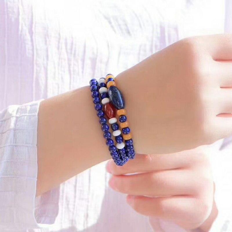 Gros JoursNeige bleu vieille Mine Lapis Lazuli avec perles jaunes pierre naturelle bracelets pour femme Bracelet en cristal bijoux - 5