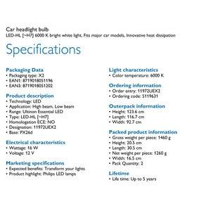 Image 5 - فيليبس Ultinon الأساسية LED H7 12 فولت 11972UEX2 6000K سيارة مشرق مصباح ليد للسيارات HL شعاع ThermalCool (التوأم حزمة)