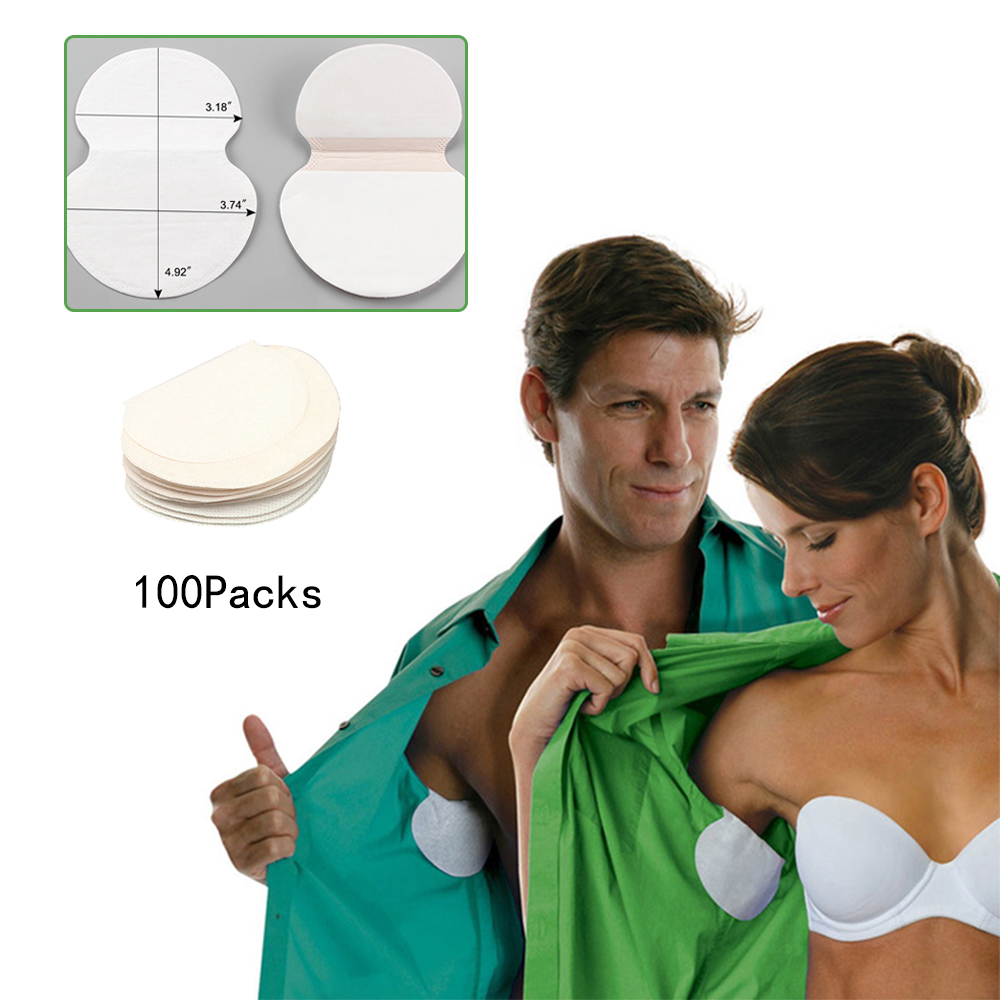 200PCS 100Packs Summer Armpit Sweat Pads Deodorants Stickers Disposable Absorbing Underarm Pads Perspiration Sweat Guard Pads