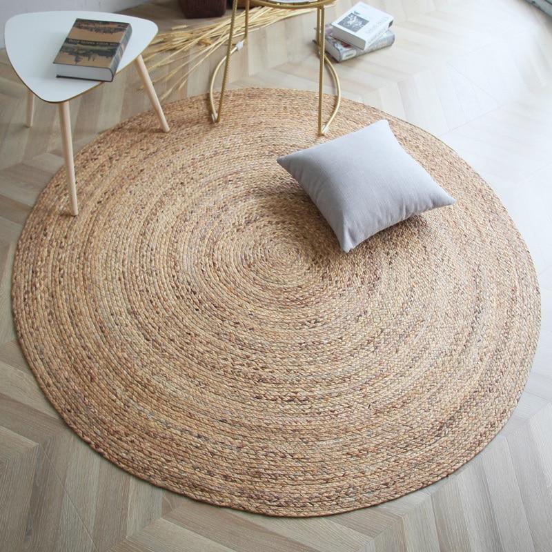 Tapis de roseau naturel fait à la main pour l'été, tapis de roseau de décoration, tapis de tatami de roseau de forme ronde de grande taille de style japonais