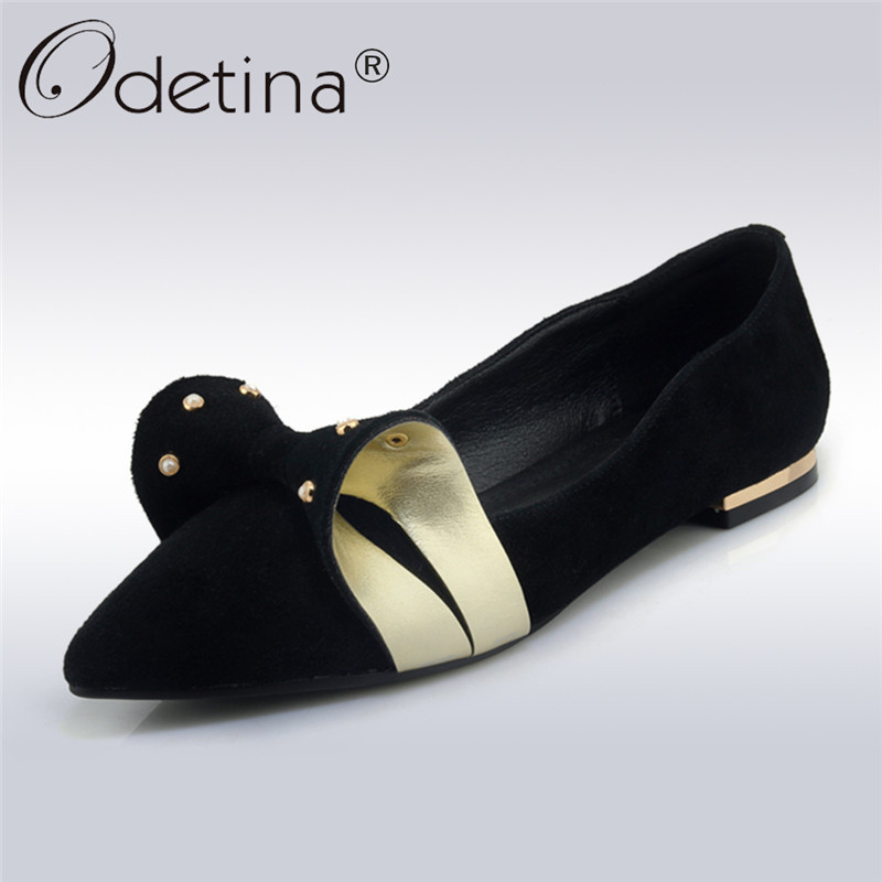 Odetina 2018 New Fashion Genuine Leather Flats For Women Sweet Bowknot Slip On Shoes Ladies Pointed Toe Casual Flat Lazy Shoes odetina 2017 new women pointed metal toe loafers women ballerina flats black ladies slip on flats plus size spring casual shoes