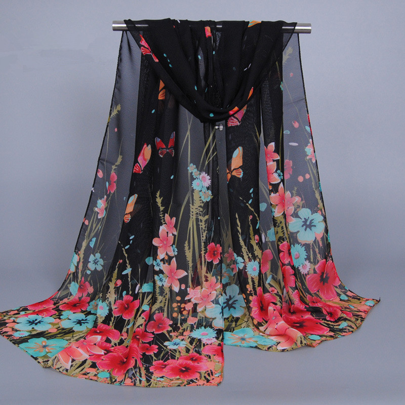 Print Flower Chiffon Silk Scarf Foulard Women Pareo Beach Cover Up Wrap Cachecol Shawl Sarong Sunscreen Long Cape Female