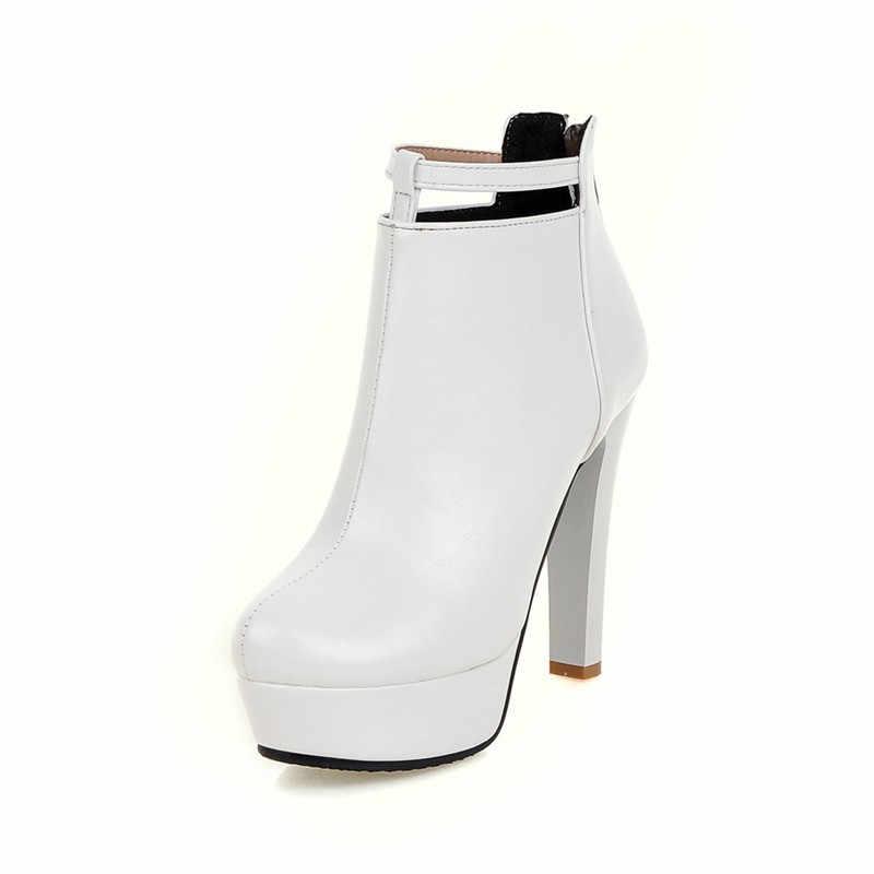 MVP CẬU BÉ Phụ Nữ Mùa Đông Boots Giày Cao Gót Sexy Mắt Cá Chân Màu Đỏ nền tảng Khởi Động 2018 Giày Nữ Trắng Đen Giày Zip Kích Thước Lớn 44