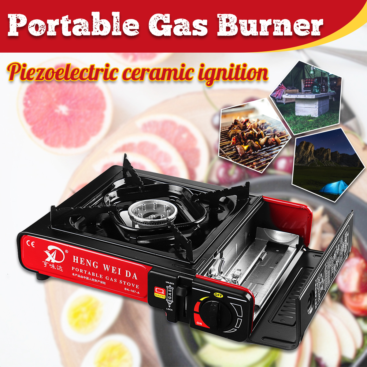 2900W Portable Camping Gas Burners Butane Cooking Stove Wind Shield Outdoor Picnic BBQ Cooker Camping Stove Gas euro style 35 5 in coated glass 5 burners built in stove ng gas cooktop cooker
