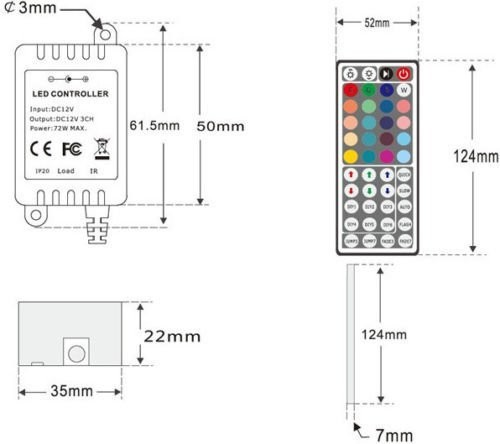BSOD 12 В 44keys ИК-пульт дистанционного управления для RGB SMD 3528 5050 Светодиодные ленты свет строка огни/6a для 5 метров