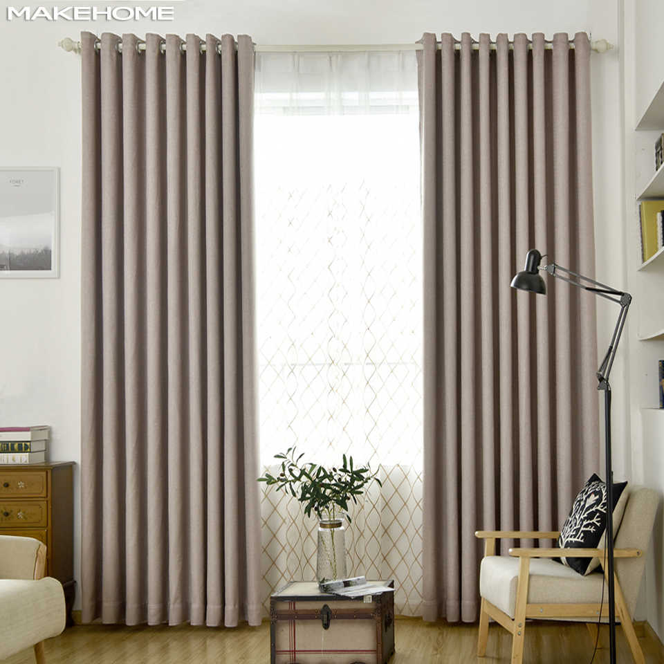 Twill Linen Modern Curtains for Living Room Blackout Curtains for Bedroom Kitchen Thick Fabric Thermal Insulating Curtain Drapes