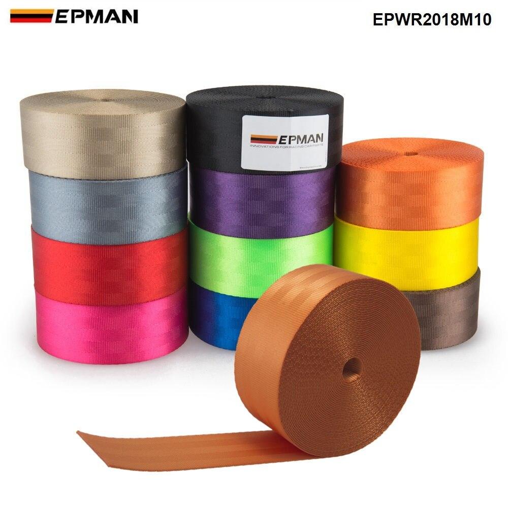 EPMAN 10 Mètres Renforcer Siège Ceinture Sangle Tissu Siège De Voiture De Course Ceintures de Sécurité Harnais Sangle Sangles 2 pouces EPWR2018M10-AF