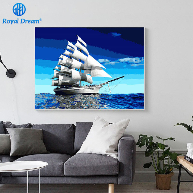 Frameless Wall Picture Painting By Numbers Canvas Home Sailboat Paint Number Kits Acrylic Seascape Oil