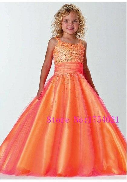 a line spaghetti strap orange children graduation gowns kids evening ...