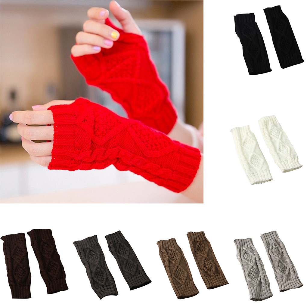 1 Pair Women Girls Winter Mittens Portable Riding Cycling Gloves Long Arm Warmer Gloves Rhombus Grid