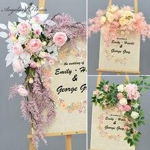 Dekoracje ślubne ołowiu drogowego sztuczny kwiat wiersz znak witający gości kreatywnych fotografia rekwizyty drzwi do domu rogu kwiaty do składania wianek garland