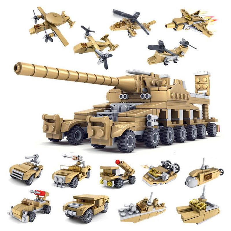 544pcs Particle Building Blocks Toys Children Military Armored Car Model 16 Box Set <font><b>Tank</b></font> Assembly Transformation Toys for Kids image