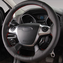 цена Free Shipping High Quality cowhide Top Layer Leather handmade Sewing Steering wheel covers protect For Ford Focus/Kuga в интернет-магазинах