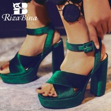 RizaBina Size 33-43 Women High Heel Sandals Ankle Strap Platform Thick Fashion Vintage Shoes Club Footwear