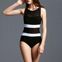 2018 Swimwear Women Conservative One Piece Swimsuit Net Yarn Bathing Suit Push Up Swim Wear Female Slimming Beach Wear