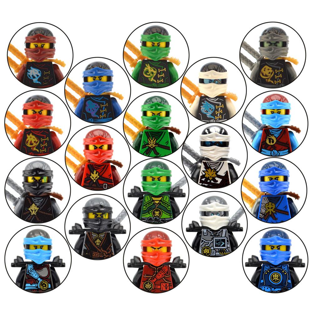 2017 Decool 18pcs lot Ninja Hero Mini Action Figures Cole Nya Lloyd Zane Kai Jay Set