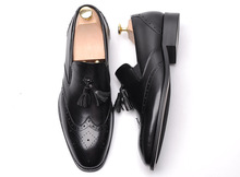 QYFCIOUFU 2019 Summer tassel brogue shoes men Slip-On formal shoes men Genuine Leather Casual Wedding Office formal shoes men