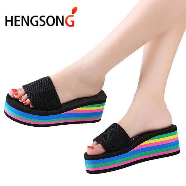 Women Slides Sandals Slippers New Summer Fashion Rainbow Slides Sandals Home Shoes