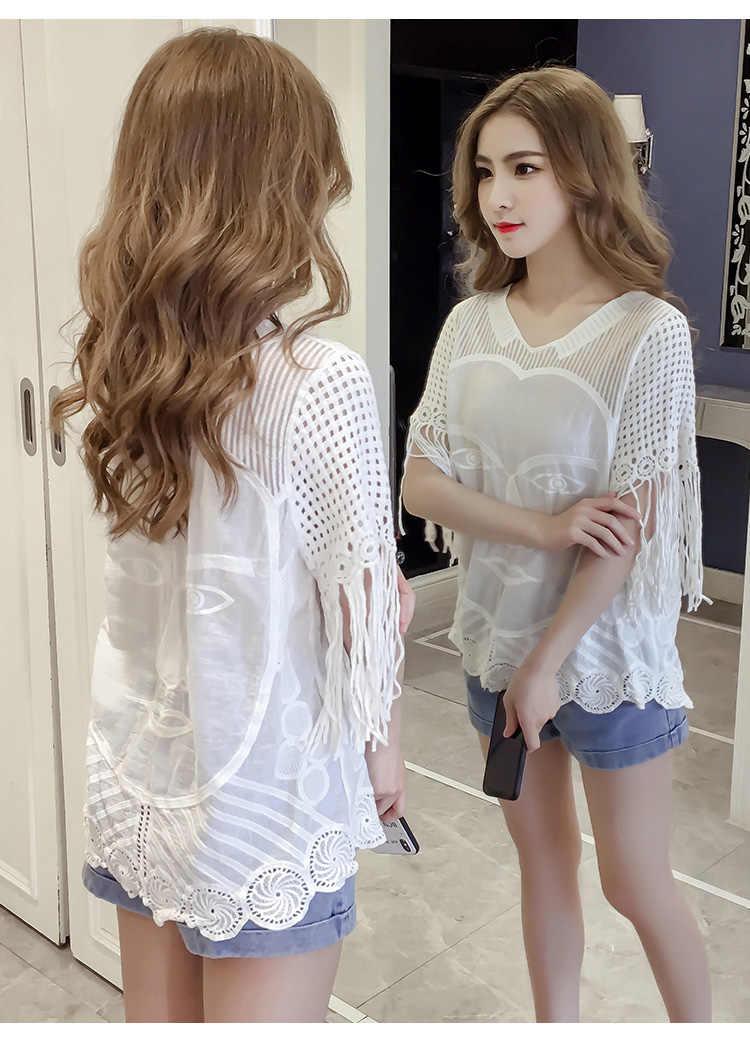Лето плюс размер женские топы blusas женские блузы модные женские блузки 2018 белые полые женские  кружевные блузки рубашки 0681 40