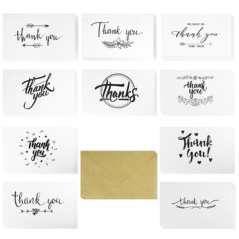 Coceca 60Pcs Thank You Card and Self-Adhesive Envelopes Set, Blank Inside 10 Thank You Designs - 6x7 for Festivals and Parties