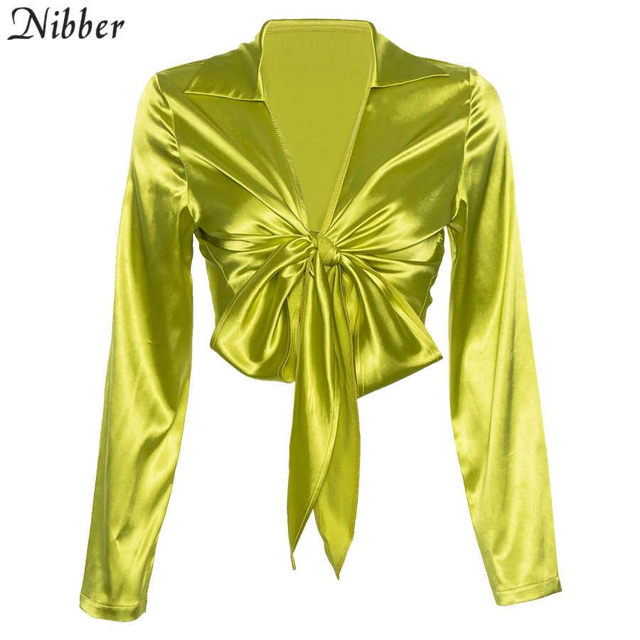 Nibber 2019 thu công sở nữ Full tay nơ Áo Crop Top nữ ChiffonT-Áo sơ mi Bông Tai Kẹp cơ bản Phố Áo thun áo sơ mi mujer