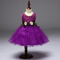 Comercio al por mayor 12 unids/lote 4 Color 2017 Nueva Recomendado de Gama Alta Telas Exquisitas Pary Vestido de Princesa Niña de las Flores Vestido de Noche L9077