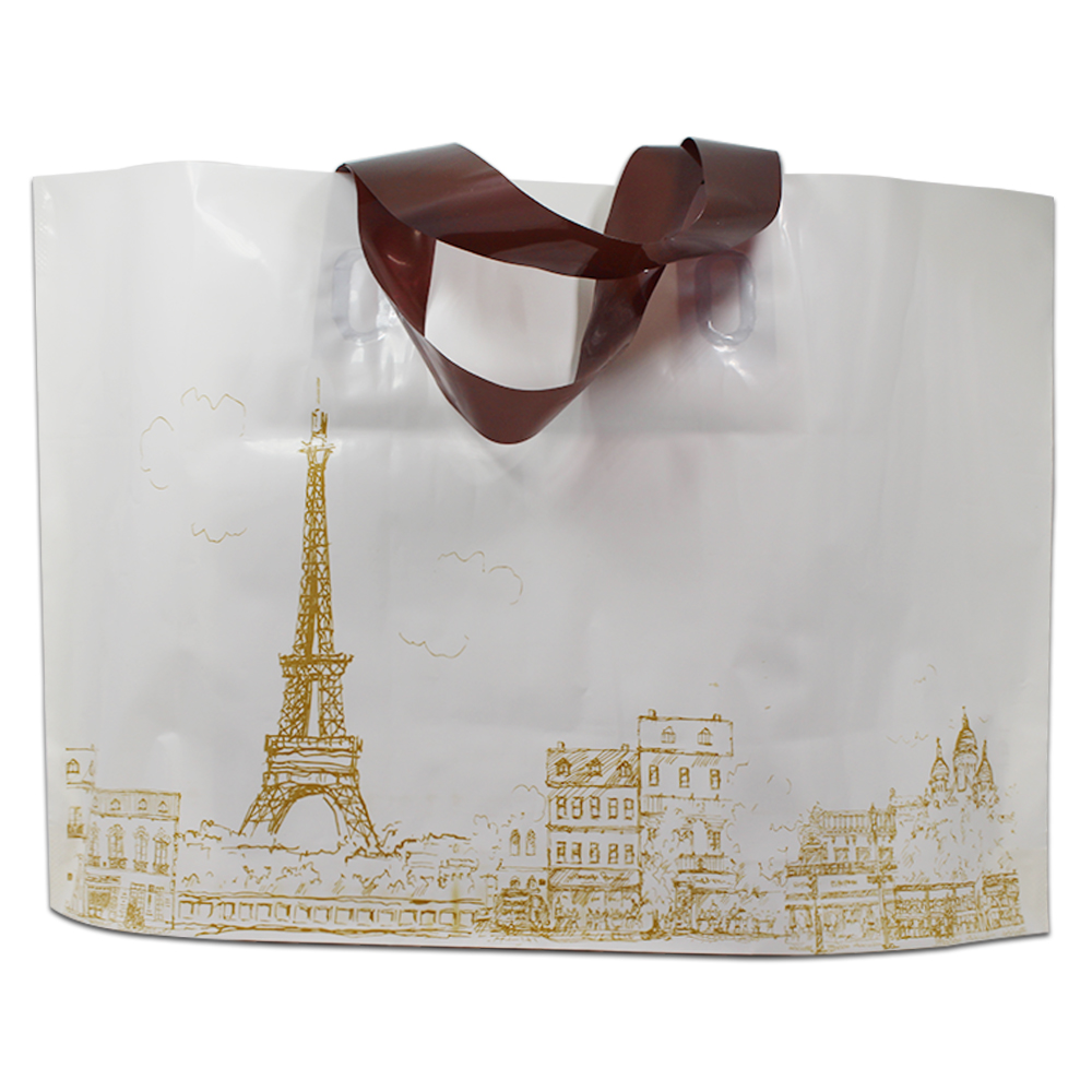 250Pcs 3 Design Deer Eiffel Towel Printed Plastic Shopping Bag With Handle Gift Merchandise Clothes Packing Package 3 Sizes