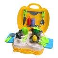 26 unids De Plástico de Cocina de Cocina de Juguete para Niñas Portátil Herramienta Cosplay kit de cocina para niños conjunto de juguete función play pretend juguete con caja