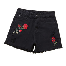 B2391 2018 new women's summer loose wide-leg high-waisted floral embroidered hot holes denim shorts cheap wholesale(China)