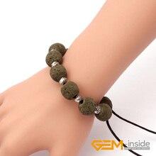 """14 мм Лава браслеты из камней браслеты для женщин и мужчин эластичный канат натуральный камень регулируемые Размер: """"-8,5"""" браслеты"""
