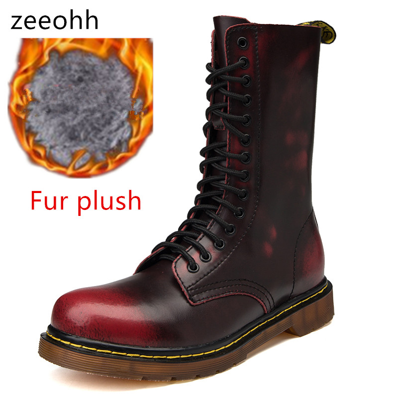 zeeohh 2018 Mens Winter Warm Vintage Motorcycle Boots Male Fur Plush Martin Shoes Men Snow High Top Boots zapatos de mujer plush casual suede shoes boots mens flat with winter comfortable warm men travel shoes patchwork male zapatos hombre sg083