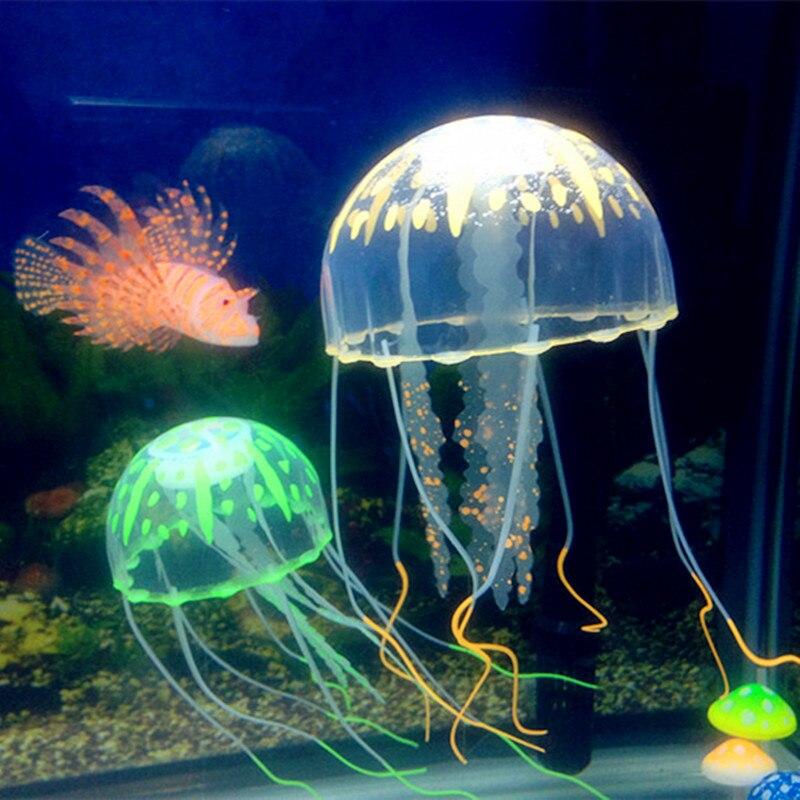 1 PC Glowing Effect Artificial Jellyfish FishTank Aquarium Aquario DecorationMini Submarine Ornament Underwater Pet Decor(China)