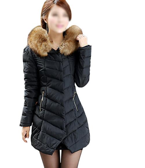 FGGS Guarnição da Pele Do Falso Das Mulheres de Inverno Com Capuz Casuais Jaqueta Packable Preto, Vermelho, Verde, M-XXXL