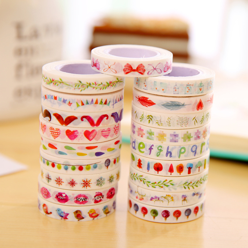 1 PCS Stationery Masking Tape Segmentation Line Japanese Washi Paper Tape Border Decorative Fresh Narrow Edition Sticker