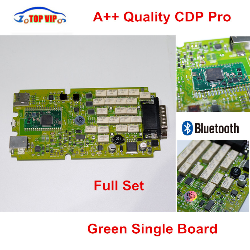 A++ Quality Green Single Board CDP PRO Low Price TCS CDP bluetooth 2014R2/2015R3/2015.1 Software New VCI TCS CDP Pro Scanner quality aaa one single green board new vci without bluetooth 2014 r2 2015 r1 optional gray vd tcs cdp pro with japen nec relay