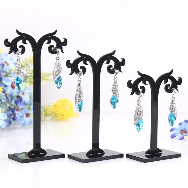 3 Pcs Set Black Transpa Diffe Height Acrylic Earrings Display Stand Jewelry Organizer Holder Removable
