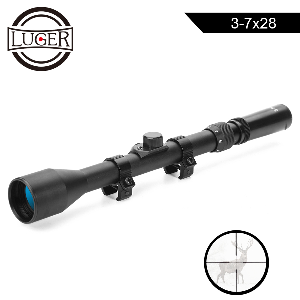 LUGER 3-7x28 Riflescope Hunting Optics Telescopic Sight Scope For Airsoft Rifle Gun Weapon Fit 11mm Mount Crosshair ScopesLUGER 3-7x28 Riflescope Hunting Optics Telescopic Sight Scope For Airsoft Rifle Gun Weapon Fit 11mm Mount Crosshair Scopes