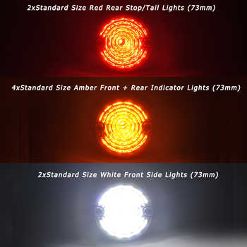 4*Yellow+2*Clear+2*Red 8PC For Land Rover Defender 90-16 90/110 83-90 Complete Led Lamp Upgrade Kit Indicator Stop/Tail Position