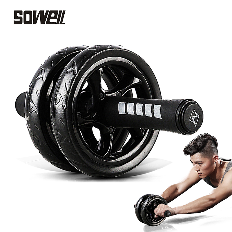 2019Muscle Exercise Equipment Home Fitness Equipment Double Wheel Abdominal Power Wheel Ab Roller Gym Roller Trainer Training image