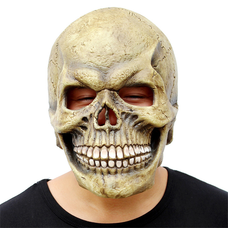 Scary Skull Mask Full Head Realistic Latex Party Mask Horror Skeleton Halloween Cosplay Costume For Adult Men Helmet