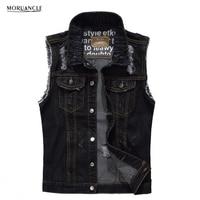 MORUANCLE Fashion Men S Ripped Denim Vest Slim Fit Distressed Sleeveless Jeans Jacket For Man Black