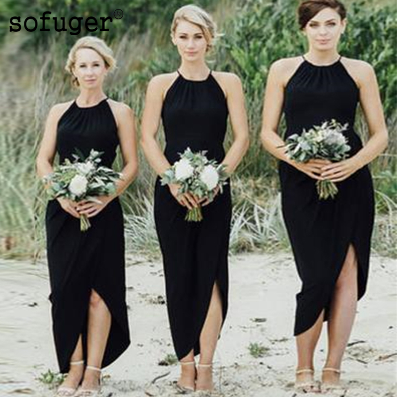 Chiffon Elegant Long Strap Sleeveless Beach O Neck Slit Special Occasion   Bridesmaid     Dresses   Wedding Party   Dresses   Formal   Dress
