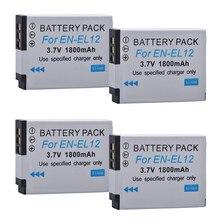 Lot de 4 Batteries rechargeables pour appareil photo numérique Nikon Coolpix AW110,AW100, S8200, S9700,S9400, S9500, EL12, EN-EL12