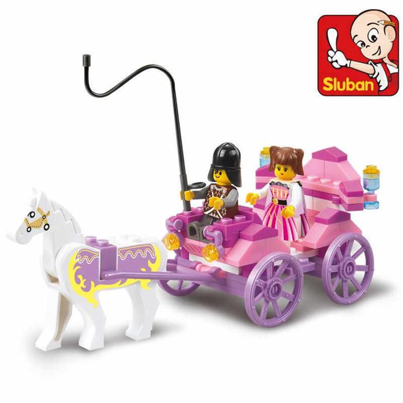 Sluba 0239 blocos de construção menina sonho princesa real carruagem vagão figura ação playmobil brinquedos educativos para crianças