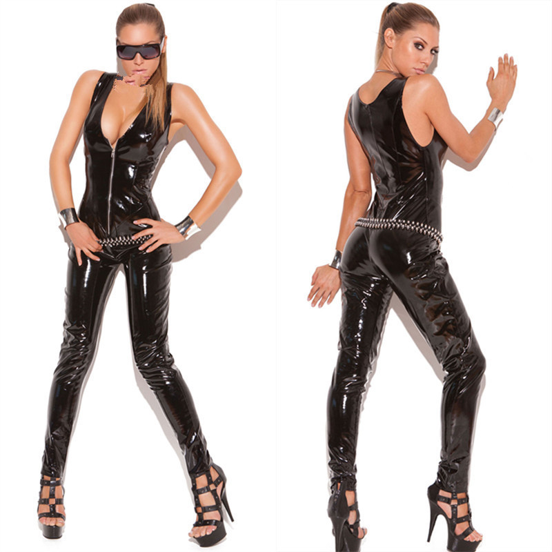 hot sexy low cut latex catsuit faux leather bodysuit sleeveless bodycon punk jumpsuit women. Black Bedroom Furniture Sets. Home Design Ideas