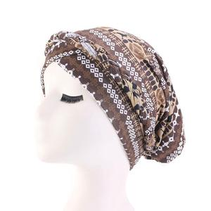 Image 3 - נשים כובע סרטן כימותרפיה כובע אתני מודפס מוסלמיים כפה צמת ראש טורבן צעיף כיסוי שיער אובדן ערבי מצנפת אופנה