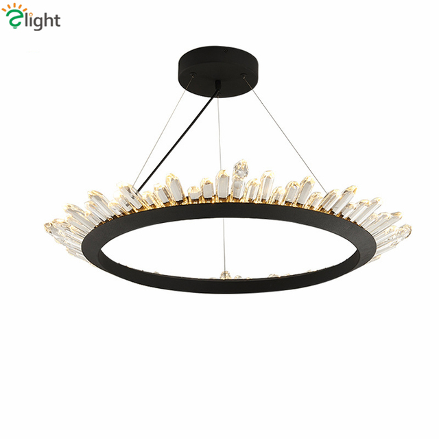 American Retro Country Re Led Chandelier Living Room K9 Crystal Pendant Round Metal Ring