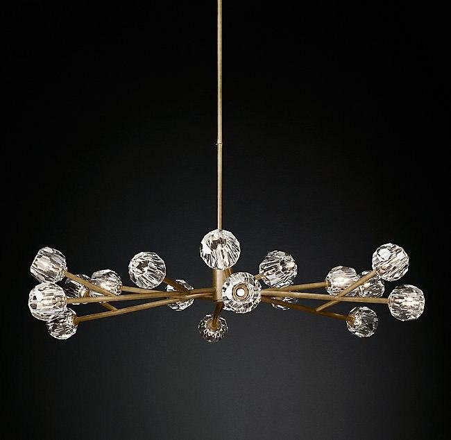 Poteau américain moderne RH Loft Led G4 lustre salon cuivre Led lustre éclairage Foyer cristal abat-jour suspendre lampe
